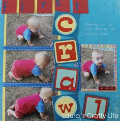 Scrapbook Layout: First Crawl by Laura's Crafty Life