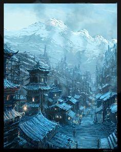 Steampunk Chinese Village by Raphael-Lacoste.d... on @deviantART