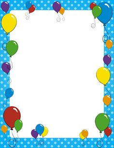 Free Kid's Borders: Clip Art, Page Borders, and Vector Graphics Birthday Frames, Birthday Cards, Free Birthday, Printable Border, Printable Labels, Free Printable, Diy And Crafts, Crafts For Kids, Boarders And Frames