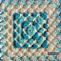 @ MyPicot - patrón de crochet libre - textura burbuja cuadrado: