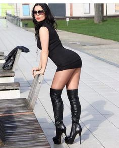 Sexy Girls in Sexy Dresses: Photo Botas Sexy, Sexy Legs And Heels, Sexy Boots, Mode Outfits, Sexy Outfits, Tight Dresses, Sexy Dresses, Pernas Sexy, Thigh High Boots Heels
