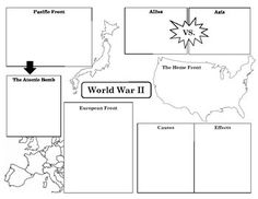 World War Two Graphic Organizer Graphic Organizer for key events/aspects of World War Two History Lesson Plans, World History Lessons, History Education, History Projects, History Teachers, Teaching History, History Activities, 7th Grade Social Studies, Social Studies Worksheets