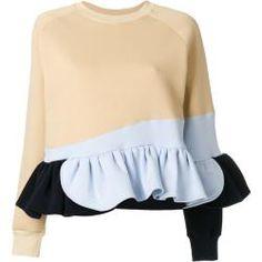 Ioana Ciolacu Frilled Colour Block Sweatshirt In Neutrals Pullover Design, Sweater Design, Color Blocking, Colour Block, Cotton Jumper, Dolce E Gabbana, Color Beige, Sweatshirt Dress, Neue Trends