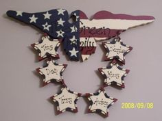 American Eagle With Family Name. Eagle is 35.00 and the hearts are 5.00 each.I cut this item from 3/4 inch pine and I use only the best acrylic paints. I seal this sign to hang inside or outside.   You can also find me on Facebook at Military Memories by Sherry Stumph