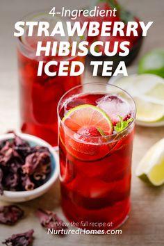 Strawberry Hibiscus Iced Tea - Nurtured Homes Sun Tea Recipes, Fruit Tea Recipes, Drink Recipes, Whole Food Recipes, Vegan Recipes, Hibiscus Drink Recipe, Home Made Ice Tea, Fresco, Making Iced Tea