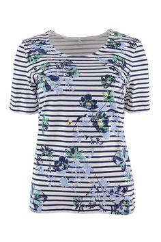 Gerry Weber gestreept shirt met bloemen en strass-steentjes onder Tops &  Shirts in de kleur(en) Blauw Dessin met leverancierscode 670122-44076 Shirt  van het ...