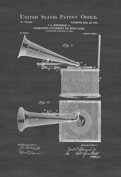 Gramophone Box Patent - Patent Print Wall Decor Gramophone Poster Patent Home Theater Decor Music Buff Vintage Record Player by PatentsAsPrints