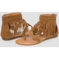 Ashley Stewart All Over Fringe Ankle Gladiator Sandal ($40) ❤ liked on Polyvore featuring shoes, sandals, wide width gladiator sandals, greek sandals, fringe flat sandals, bohemian sandals and wide width sandals