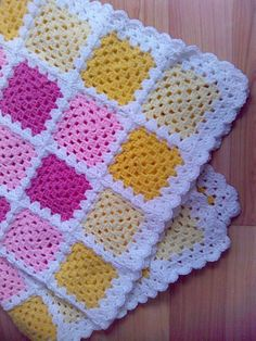 Just had some left over bits and pieces which I started a blanket with then found out my neighbour was having a baby so hoped it would be a girl and it was! Granny Square Crochet Pattern, Afghan Crochet Patterns, Macrame Patterns, Crochet Afghans, Crochet Box, Crochet Yarn, Crochet Hooks, Needle Felting Supplies, Crochet Ripple Blanket