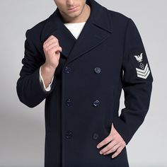 40's Navy Pea Coat - Valued by Navy sailors for its warmth and ...