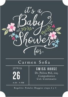 Find great custom baby shower invitations for your party! We've collected 25 baby shower invitation ideas for you to find the perfect card for this event! Tarjetas Baby Shower Niña, Invitaciones Baby Shower Niña, Regalo Baby Shower, Baby Shower Favors, Baby Shower Themes, Baby Shower Gifts, Baby Shower Invites For Girl, Baby Shower Invitation Cards, Shower Ideas