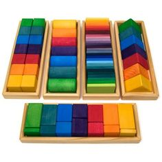 Amazon.com: Grimm's Large Shapes & Colors Building Set - Colorful Wooden Blocks in 5 Geometric Forms (4x4 Size)