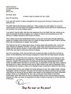 A letter a day to number 10. No 1,020  Friday 06 March 2015. Tories hate the poor and its killing us.
