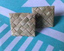 TUITUI Studded Lauhala Earrings