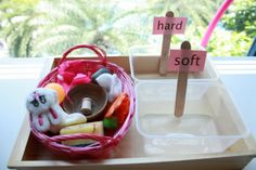 Sort hard and soft objects. Could also do hot and cold and hard and soft chairs.