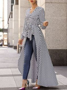 V-Neck Striped Tie Waist Dip Hem Irregular Blouse - Stylish Fashion Look Fashion, Womens Fashion, Fashion Design, Fashion Trends, Ladies Fashion, Fashion Ideas, Feminine Fashion, Party Fashion, Feminine Style