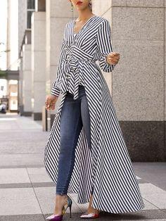 V-Neck Striped Tie Waist Dip Hem Irregular Blouse - Stylish Fashion