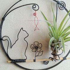 Tillandsia⚓ décoration aluminium chat et fille de l ' air ⚓ cadre végétal ⚓ déco maison