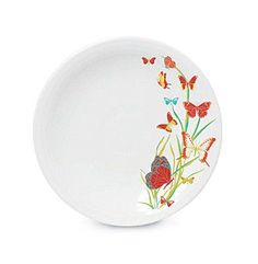 "Fiesta® Butterfly 9"" Luncheon Plate. Boldly colored butterflies adorn the edge of this charming and durably constructed plate from Fiesta® Dinnerware. Made by Homer Laughlin China Company 