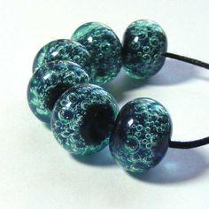 "Lampwork ""bubble"" beads. #lampwork #beads #handmade"