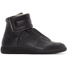 Maison Margiela Black Future High-Top Sneakers ($770) ❤ liked on Polyvore featuring men's fashion, men's shoes, men's sneakers, mens black high top shoes, mens black velcro shoes, mens black leather high top sneakers, mens velcro strap shoes and mens high top shoes