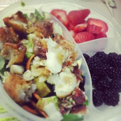 Lunch box ideas for Adults Cod salad with balsamic salad dressing. strawberries and blackberries.