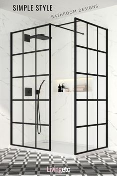 Give your bathroom an urban edge with a crittall-style shower screen. Here are our favourite Crittall-style shower screens in the UK. Shower Panels, Shower Doors, Shower Screens, Bath Screens, Bad Inspiration, Bathroom Inspiration, Walk In Shower Enclosures, Black White Bathrooms, Crittall