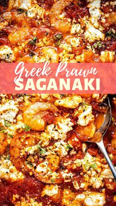 Make this prawn saganaki recipe and pretend you are on a Greek island… Delicious prawns in a rich tomato sauce flecked with salty, melty feta cheese. Fish Recipes, Seafood Recipes, Cooking Recipes, Healthy Recipes, Recipes With Prawns, Cooked Prawn Recipes, Recipes With Feta Cheese, King Prawn Recipes, Healthy Greek Recipes