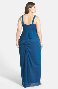 Adrianna Papell Embellished Shirred Faux Wrap Gown with Jacket (Plus Size) | Nordstrom