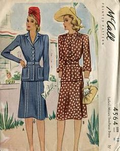 Sewing Patterns,Vintage,Out of Print,Retro,Vogue Simplicity McCall's,Over 7000 - McCall 4564 Retro 1940's Uncut Suit Jacket Skirt 30