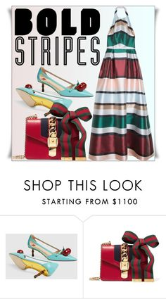 """""""Big, Bold Stripes"""" by lucky-ruby ❤ liked on Polyvore featuring Gucci, Elie Saab and BoldStripes"""