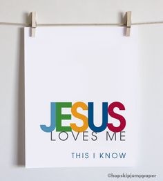 Jesus Loves Me, Christian Art Print, Blue, 8x10, Unframed. $20.00, via Etsy.