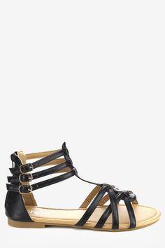 4a706bfbccb6e Ankle Cuff Flat Gladiator Sandals - Black