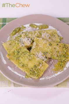Peas are great, but any seasonal vegetable can be substituted in a pinch for this delicious Pea-Mascarpone Ravioli with Sauteed Peas and Pea Pesto by Mario Batali! #TheChew