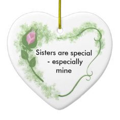 Sister Heart Ceramic Ornament