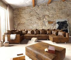 wohnlandschaft clovis braun antik-optik mit hocker | das neue ... - Wohnzimmer Sofa Braun