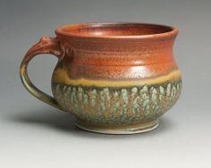 Handmade stoneware soup or chili mug iron red by John Spiteri Lisle, IL, United States