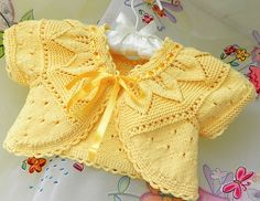 Diy Crafts - Hand knitted baby bolero from cotton yarn by Svetlanababyknitting Knitting For Kids, Baby Knitting Patterns, Crochet For Kids, Hand Knitting, Knit Crochet, Crochet Hood, Knit Baby Sweaters, Knitted Baby Clothes, Cardigan Pattern