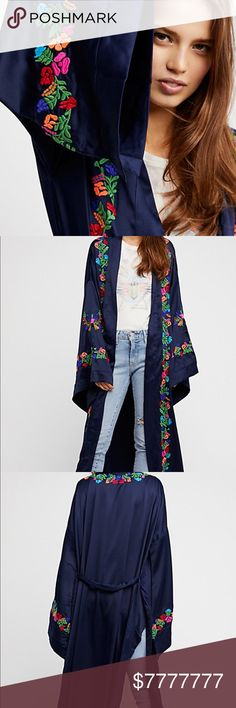 """COMING SOON⭐️free people """"The Exclusive Kimono""""✨ ✨NWT✨COMING SOON⭐️free people """"The Exclusive Kimono""""✨ Size: SMALL Color: Navy/Multi-Color. Condition: In NWT Condition, with no visible flaws, yay❣️ free people Other"""
