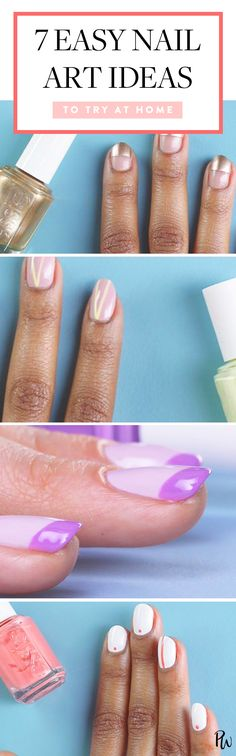 Nail art is bigger than ever, but you don't have to shell outmega bucks for an Insta-worthy design. We found seven options that you can easily do on at home. #nailart #nailartideas #nails #naildesigns