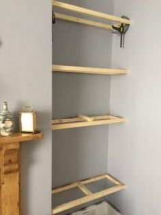 How to Build Floating Shelves in an Alcove - Old Man Grumbling Alcove Bookshelves, Alcove Shelving, Alcove Cupboards, Office Shelving, Diy Cupboards, Cupboard Shelves, Built In Shelves, Wood Shelves, Display Shelves