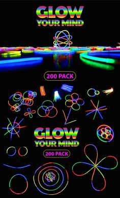 Glow your mind with our 200 pack of premium quality long lasting glow sticks. Connectors for bracelets, necklaces and orbs included. - Now available on Amazon PRIME.
