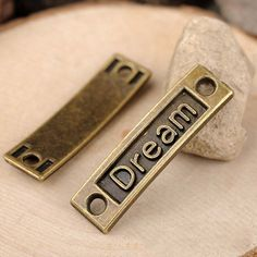 50 pcs alloy dream words connector DIY jewelry findings 35x10mm by RiverCraftSupplies on Etsy
