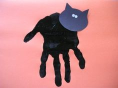 This Hand Print Black Cat is a great Halloween Craft for toddlers on up. They can dip their hand in the paint and you can add the cat's face!