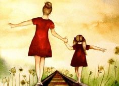 Madre e hijas agarradas de la mano