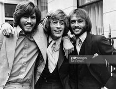 Popular English vocal trio the Bee Gees; from left to right, brothers Barry, Robin and Maurice Gibb (1949 - 2003).