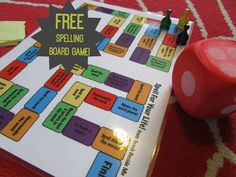 FREE Spelling Board Game - this is such a fun way for kid to practice spelling words (homeschool, 1st grade, 2nd grade, 3rd grade, 4th grade, 5th grade)