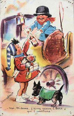 Germaine Bouret (Moi m'dame, j'aime mieux l'boire que l'pourboire) Vintage Book Art, Images Vintage, Vintage Postcards, Clown Party, Photo D Art, Antique Art, Dog Art, Vintage Children, Illustrators