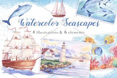 Watercolor Seascapes by Sunny Illustrations on @creativemarket