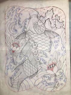 Koi Tattoo Design, Tattoo Designs, Koi Fish Tattoo, Fish Tattoos, Tattoo Flash Art, Back Tattoo, Lunges, Art Drawings, Oriental